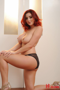 Lucy V teasing and having fun in her black and white polka dot lingerie