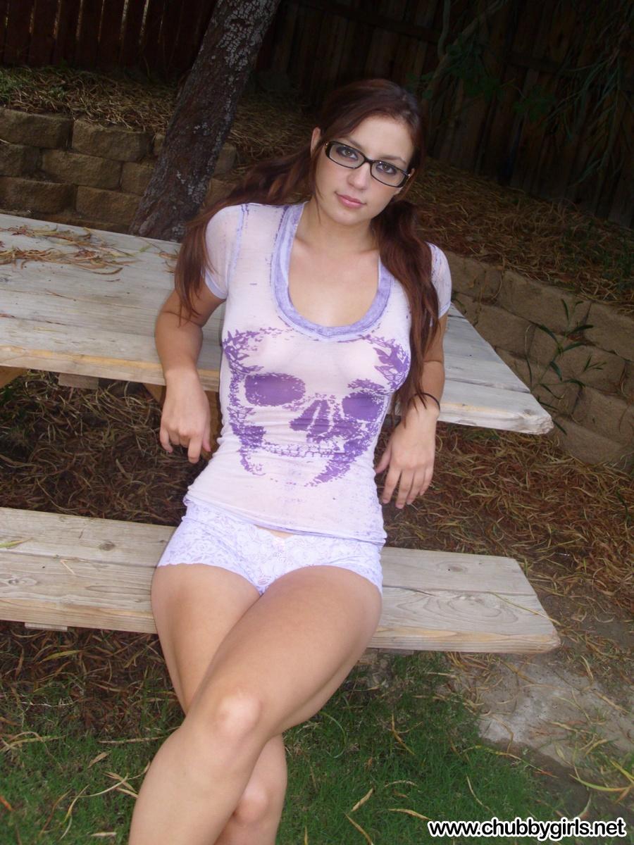 Sexy girl in purple shiny leggings 3
